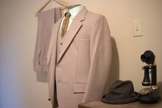 Vintage Men's Suit tan 1960's size 42 by HouseOfRetro on Etsy, $50.00