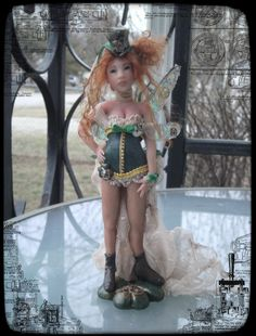 One of a Kind Polymer Fairy 2013-Steampunk St. Patricks day Fairy.