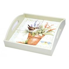Herb Garden 4-Tile Wood Tray with Handles by Lang $49.95