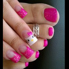 i might have to try this next! just one nail on each hand be hello kitty and then the others the color of her bows
