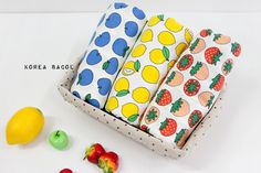 Fruits Fabric  Apple Fabric  Lemon Fabric  by KoreaBacol on Etsy