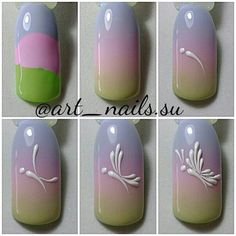 On average, the finger nails grow from 3 to millimeters per month. If it is difficult to change their growth rate, however, it is possible to cheat on their appearance and length through false nails. Nail Art Hacks, Gel Nail Art, Acrylic Nails, Easter Nail Designs, Simple Nail Art Designs, Spring Nails, Summer Nails, Nail Art Dessin, Nail Drawing