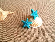 Beach Wedding Jewelry, Summer Jewelry, Starfish Earrings, Mermaid Jewelry, Nautical Jewelry, Light Blue Color, Etsy Earrings, Studs, Polymer Clay