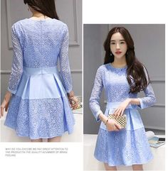 Dress Pendek Kombinasi Brokat Cantik Warna Biru A2884
