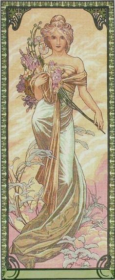Mucha Art Nouveau Wall Tapestry.  Great site for doll house wall paper.