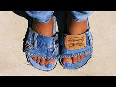 DIY LEVI DENIM SLIDES || Easy & Simple || - YouTube
