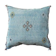 moroccan cactus sabra silk   Aqua Turquoise Cactus Silk Sabra Moroccan Pillow…