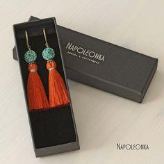 Brush earrings Earrings with tassels Vintage earrings Orange earrings Turquoise beads Earrings brass Long earrings Stylish earrings Gift by Napoleonka on Etsy