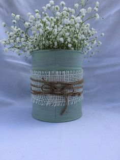 Shabby chic cycled up, misused tin can vase. Perfect for fresh cut flowers or your own inspiration  #cycled #flowers #fresh #inspiration #misused #perfect #repurposeditems #shabby