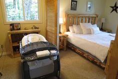 "The office space off the master bedroom at ""The Francis"" cottage makes a great space for babies to sleep close to parents. The Office, Baby Sleep, Master Bedroom, Parents, Decor Ideas, Cottage, Babies, Space, Inspiration"