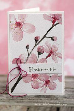 der kleine klecks: Kirschblüten, Frühlingskarten XL-Stempelset für alle Anlässe von Charlie & Paulchen, Fedrigoni Aquarell Kirschblütenpapier, Fedrigoni Cardstock naturweiß, Vichykaro-Band und Leinengarn