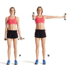 Sculpt sexier arms in just 15 minutes with this routine! Pictured: Combo shoulder raise. The other moves to do: http://www.womenshealthmag.com/fitness/upper-body-workout?cm_mmc=Pinterest-_-WomensHealth-_-Content-Fitness-_-SculptSexyArms