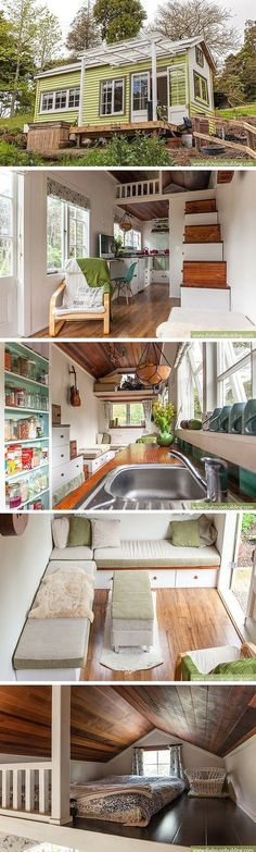 Lucy the Tiny House: a 186 sq ft home in New Zealand, occupied by a couple and their baby girl. Beautiful little house-id build it a few feet wider though Tyni House, Tiny House Living, Tiny House Movement, Tiny House Plans, Tiny House On Wheels, Casas Containers, Tiny House Nation, Tiny Spaces, Small Space