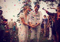 Colorful confetti send off #wedding
