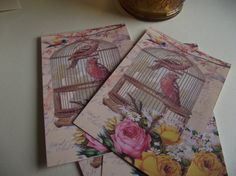 Birdcage Note Cards  Pastel Pink Roses Bird And French by mslizz, $5.00