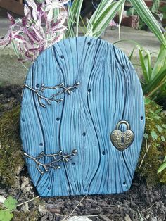 Fairy Door 38 Blue large Hobbit's Elve's And by tommiesclayworks, $15.99