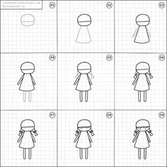 Marvelous Learn To Draw Manga Ideas. Exquisite Learn To Draw Manga Ideas. Art Drawings For Kids, Love Drawings, Doodle Drawings, Drawing For Kids, Cartoon Drawings, Easy Drawings, Doodle Art, Doll Drawing, Basic Drawing