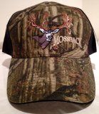 Adjustable MossyOak Break-Up Camo & Black Hat with MossBack Mule Deer logo