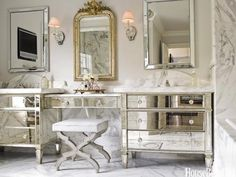 Designer Carrie Hayden took the homeowners' bedroom dressers and connected them with a mirrored vanity table for a glamorous bathroom interior design decorating before and after designs Glamorous Bathroom, Vintage Bathrooms, Beautiful Bathrooms, Feminine Bathroom, 1920s Bathroom, Bling Bathroom, Parisian Bathroom, Silver Bathroom, Luxury Bathrooms