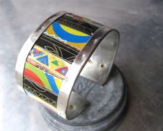 Mixed Bright Color Tin Cuff-10th by eaststreettins on Etsy