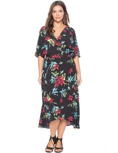 Circle Sleeve Wrap Dress Oragmi Floral Black Ground