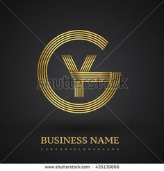 Letter YG or GY linked logo design circle G shape. Elegant gold colored letter symbol. Vector logo design template elements for company identity. - stock vector