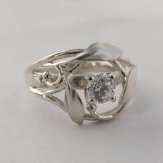 Leaves Engagement Ring No. 5 Platinum and Diamond by doronmerav