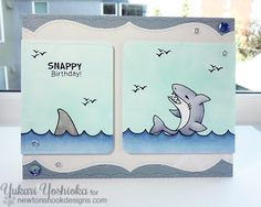 Snappy Birthday Shark Card by Yukari Yoshioka |  Stamp sets by Newton's Nook Designs #newtonsnook #shark