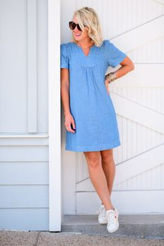 Summer of Style | Chambray Dress (Plus, All the Scoop on NSale!) | hi Sugarplum! How To Wear Sneakers, Chambray Dress, Swing Dress, Nordstrom, Stylish, Casual, Skirts, Summer, Dresses