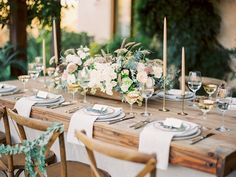 Ojai Winter Wedding Inspiration + Pear Brandy Champagne Cocktail | muted neutral palette of wedding inspiration | harvest table and cross back dining chairs