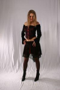 Gothic Satin Mini Skirt~Black Satin & Lace Mini Skirt with Fishnet Hem~By Bares/Fashion X~98D-1356~