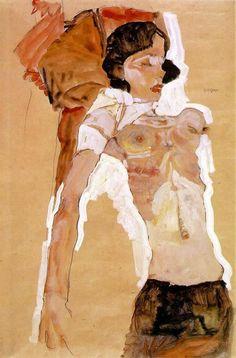 Una de las características más fuertes en la pintura de Schiele es la destreza y la firmeza de su trazo, el cual seguía una vez comenzado sin treguas, hasta el final sin ninguna corrección posterior. Parece que el artista continuaba con su dibujo sin importarle que el modelo se moviera o cambiara de lugar, puesto que la línea seguía su rumbo cargando con toda su dimensión emocional...