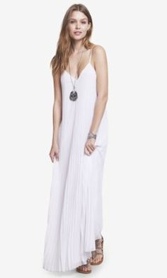 Have to Add this to my wardrobe!  WHITE ACCORDION PLEATED CHIFFON MAXI DRESS from EXPRESS