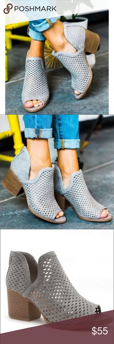 """JUSTINE Booties - Lt. GREY So perfect for summer! Super comfy.  Faux leather. Heel about 3"""" Also available in dark taupe   NO TRADE  PRICE FIRM Shoes Ankle Boots & Booties"""