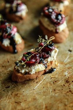 Crostini with Almond Ricotta, Roasted Cherries and Thyme with Balsamic and Honey- Vegan and GF form HeatherChristo.com