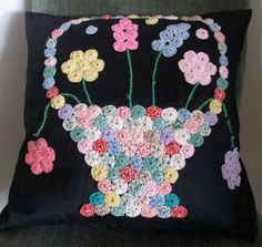 Vintage Yo Yo Quilted Pillow or Wall Hanging by chameleonCMC, $25.00