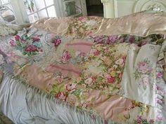 Gorgeous Vintage Rose Patchwork Quilt
