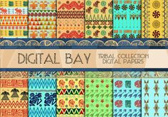 TRIBAL Digital paper pack  Instant download  by DigitalBay on Etsy