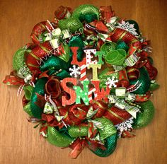 Let it Snow Deco Mesh Christmas Wreath. Red and Green deco mesh.