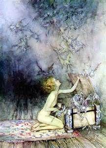 Arthur Rackham Fairies--pandora opens the box