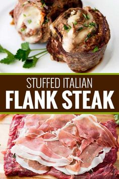 Italian Stuffed Flank Steak – The Chunky Chef Impress anyone with this easy flank steak that's rolled with garlic, herbs, prosciutto ham and provolone cheese. Perfect on the stove/oven, or on the grill, these are the ultimate Italian steak pinwheels! Flank Steak Rolls, Flank Steak Tacos, Marinated Flank Steak, Flank Steak Recipes, Meat Recipes, Cooking Recipes, Stuffed Flank Steak, Stuffed Steak Rolls, Steak Roll Ups