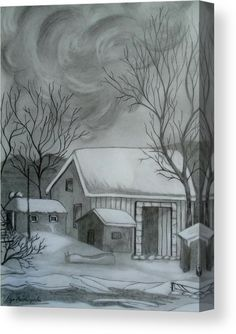 Canvas Print, sketch, drawing, house,rural,scenery,view,snow,winter,landscape,backyard,barn,building,architectural,oldtime,exterior,calm,peaceful,tranquile,solitude,loneliness,quiet,silent,outdoors,morning,day,american,realism,fairytale,hand,made,pencil,graphite,black,white,in,at,of,by,for,with,the,a,and,artwork,decor,home,hotel,office,decor,popular,best,products,items,for sale, online,fine art america