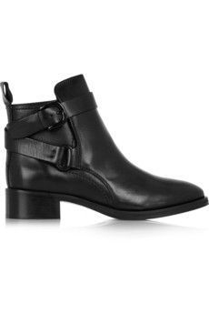 McQ Alexander McQueen Buckled leather ankle boots | NET-A-PORTER ALL black