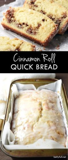 This quick bread is buttery and moist, with a hidden layer of cinnamon and pecans, then topped with a silky sweet glaze. So easy and good! Loaf Cake, Bread Cake, Dessert Bread, Bread Bun, Dessert Recipes, Cinnamon Loaf, Easy Cinnamon Bread Recipe, Cinnamon Roll Recipes, Cinnamon Roll Icing