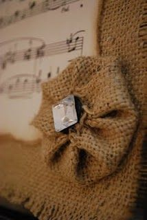 Burlap Frame with antique music sheets…love it!