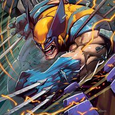"Geek_art_world on Instagram: ""Wolverine on the attack by artist 🎨 @elgrimlock 💛💙💛 : : : : : #comicbookfans #webcomics #geekedup #marvelcomics #marvelcomicsgroup…"" Films Marvel, Hq Marvel, Marvel Comics Art, Marvel Heroes, Comic Book Characters, Comic Book Heroes, Marvel Characters, Comic Books, Nightwing"