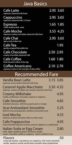 coffee house menu board | CoffeeNet - How to Run a Coffee Shop -- The Network for Resources