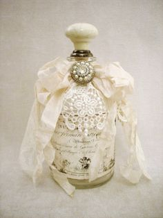 ~ The Feathered Nest ~: ~ My Artwork ~ shabby chic altered bottle