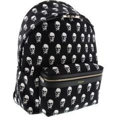 5 SAINT LAURENT BLACK SKULLS BACKPACK (950 CAD) ❤ liked on Polyvore featuring bags, backpacks, accessories, book bags, yves saint laurent bag, black rucksack, backpacks bags, knapsack bags and rucksack bag