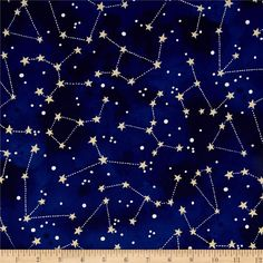 Michael Miller Moon & Stars Constellation Midnight from @fabricdotcom Designed for Michael Miller, this cotton print fabric is perfect for quilting, apparel and home decor accents. Colors include white, metallic gold, and shades of blue.
